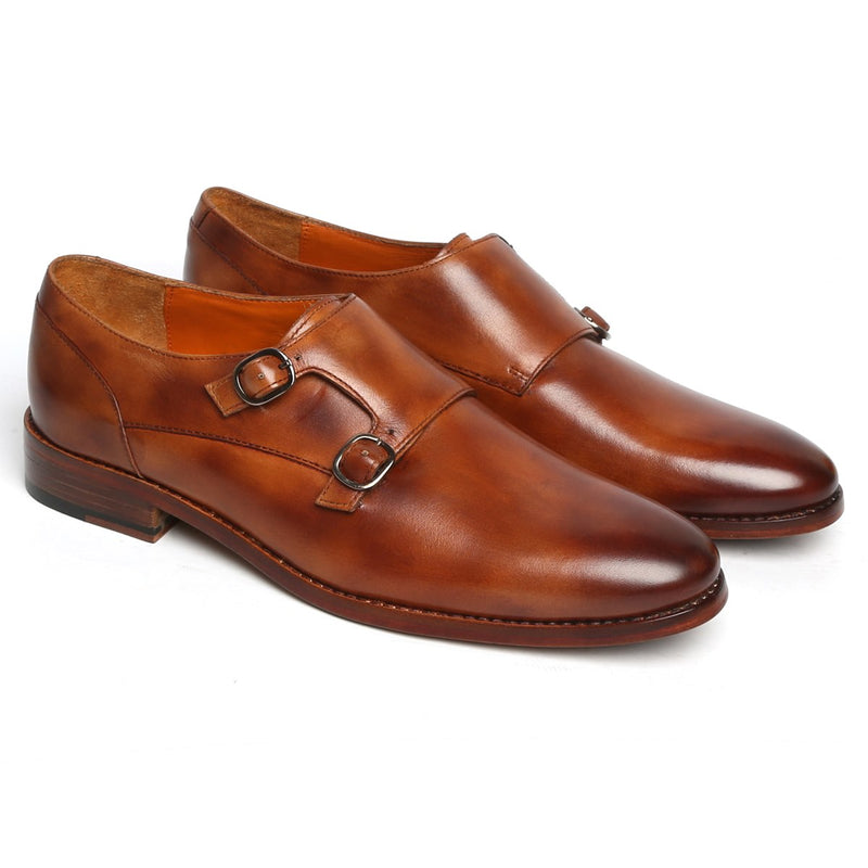 TAN CLOUDY FINISH LEATHER DOUBLE MONK SHOES BY BRUNE