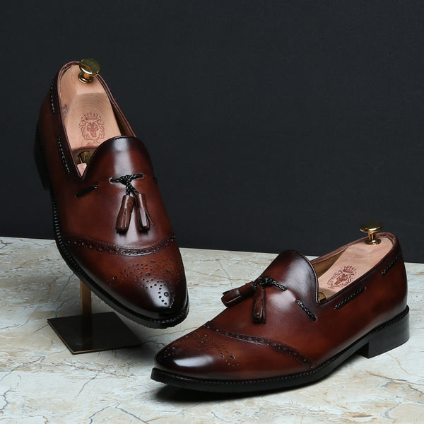Brown Quarter Brogue Toe Tassel Leather Slip-Ons By BRUNE