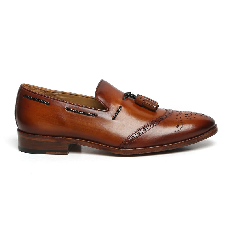 Tan Quarter Brogue Toe Tassel Leather Slip-Ons By BRUNE