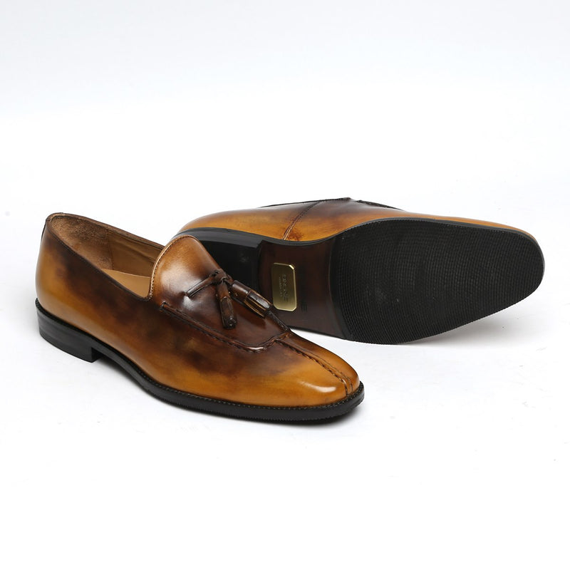 Rusty Look Yellow-Brown Leather Tassel Slip-On By BRUNE