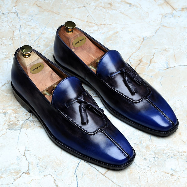 RUSTY LOOK BLUE-BLACK LEATHER TASSEL SLIP-ON BY BRUNE