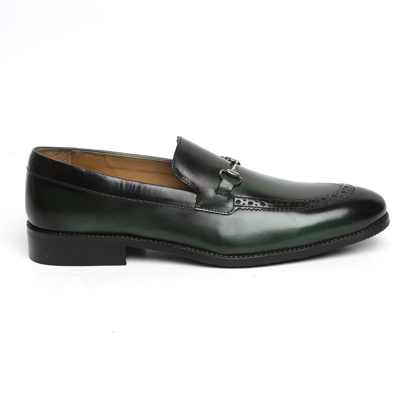 Green Brogue Design Horsebit Leather Loafers By BRUNE