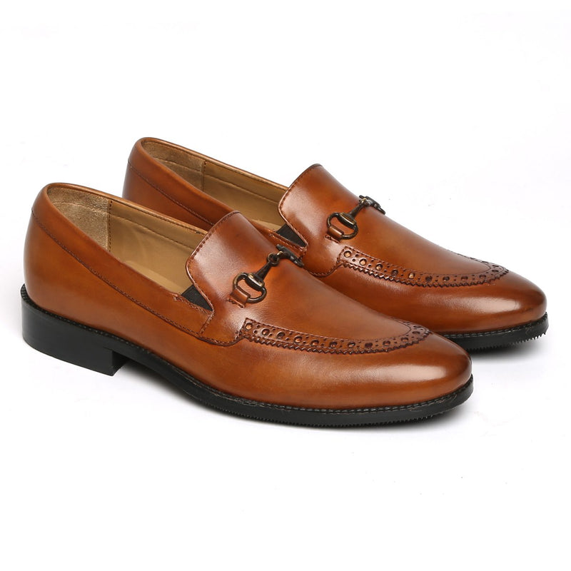 Tan Brogue Design Horsebit Leather Loafers By BRUNE