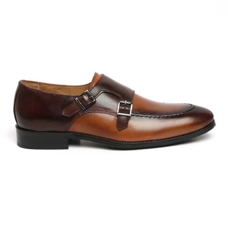 DUAL SHADE TAN-BROWN CONTRASTING MONK LEATHER SHOES BY BRUNE