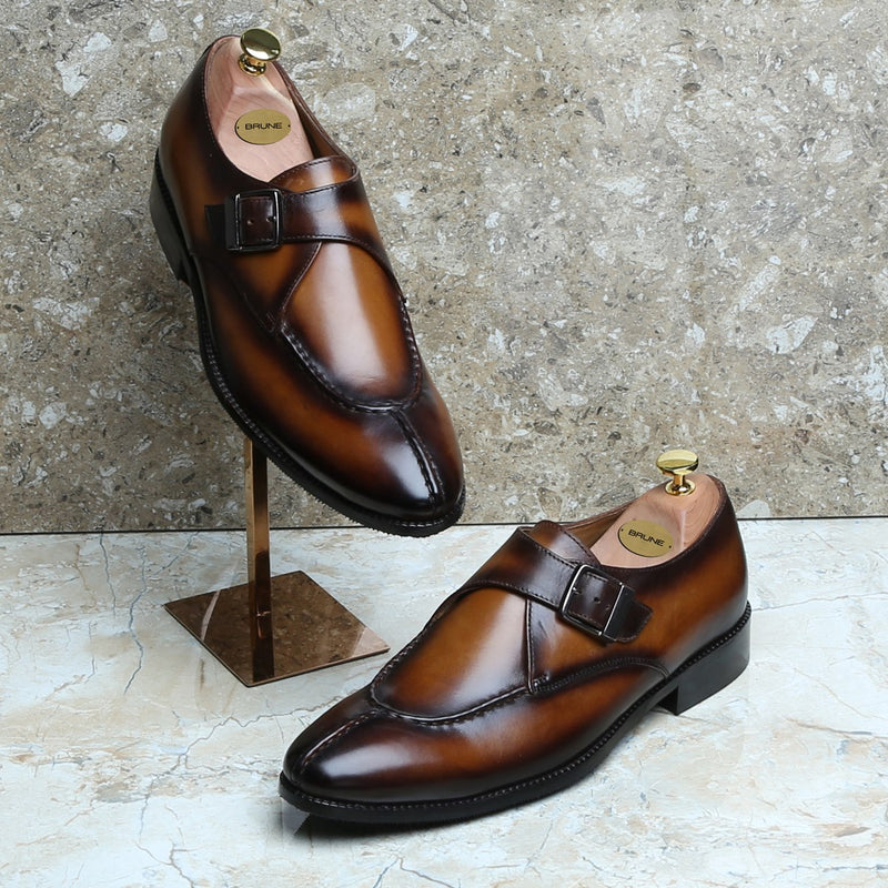 MERGED LOOK TAN LEATHER SPLIT TOE MONK STRAP SHOES BY BRUNE