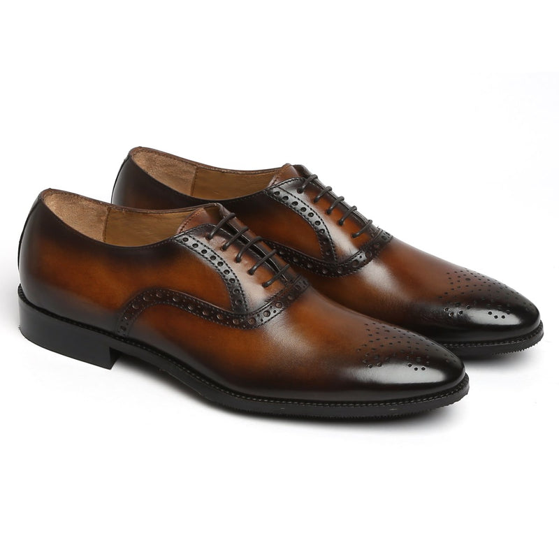 Espresso Leather Quarter Brogue Oxford Shoes by BRUNE