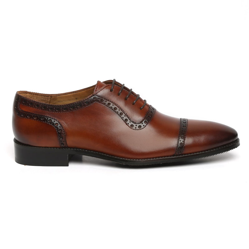 COGNAC LEATHER PUNCHING LINES OXFORD SHOES BY BRUNE
