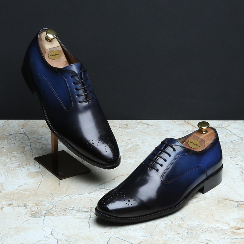 BLUE-BLACK MERGED LOOK LEATHER LACE UP OXFORDS BY BRUNE