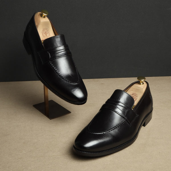 Black Cognac Leather Mod Look Apron Toe Loafers By BRUNE