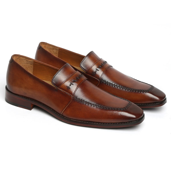 Cognac Stitched Design Apron Toe Leather Penny Loafers By BRUNE