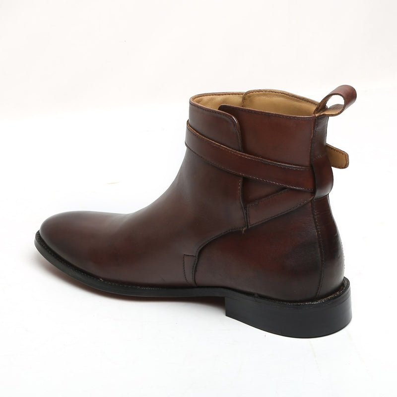 BROWN LEATHER WRAP AROUND BUCKLE STRAP BOOTS BY BRUNE