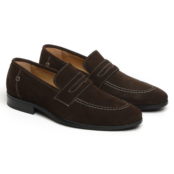 BROWN SUEDE LEATHER APRON TOE PENNY LOAFERS BY BRUNE