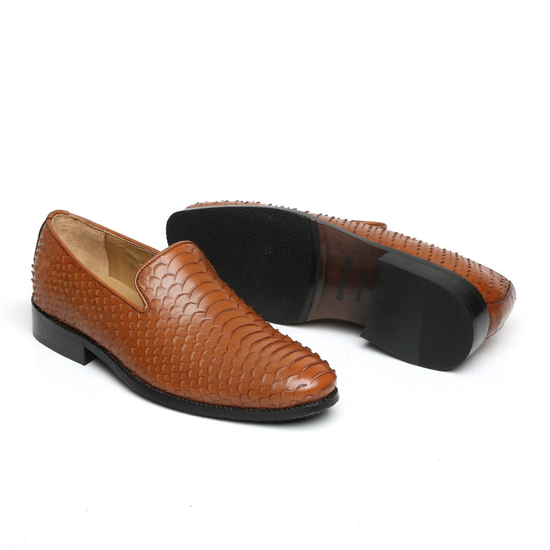 Tan Snake Scale Textured Leather Slip-on by BARESKIN