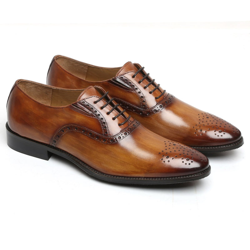TAN-OLIVE HANDCRAFTED LEATHER FORMAL BROGUES BY BRUNE