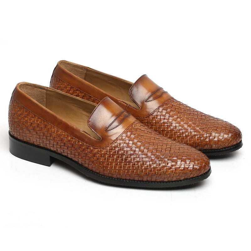 Tan Weaved Design Leather Loafers By BRUNE