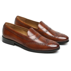 COGNAC LEATHER LONG TAIL BROGUE WINGTIP LOAFERS BY BRUNE