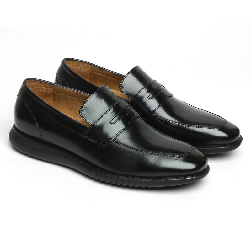 Black Leather Penny Sneakers By BARESKIN
