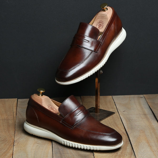 Brown Leather Penny Sneakers by BARESKIN