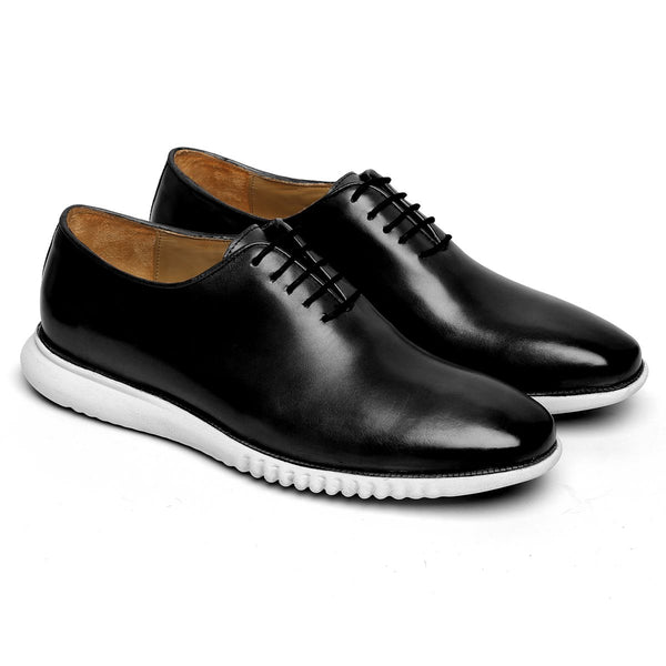 Black One Piece Leather Sneakers By Bareskin