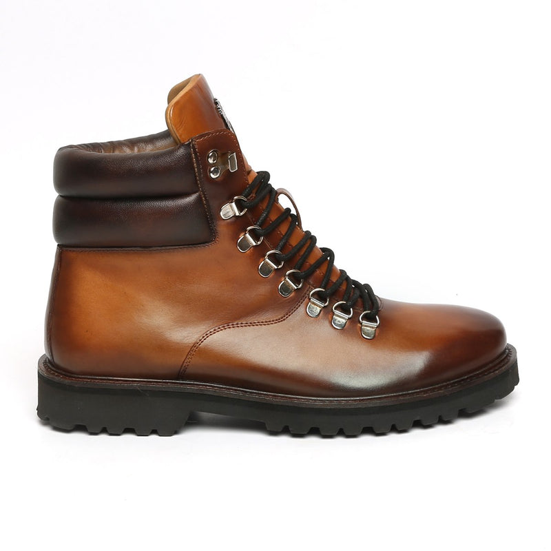 TAN BIKER WITH METAL LION LEATHER LIGHT WEIGHT BOOT FOR MEN BY BARESKIN (512 gm)