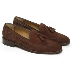 Brown Suede Leather Tassel Loafers By Brune