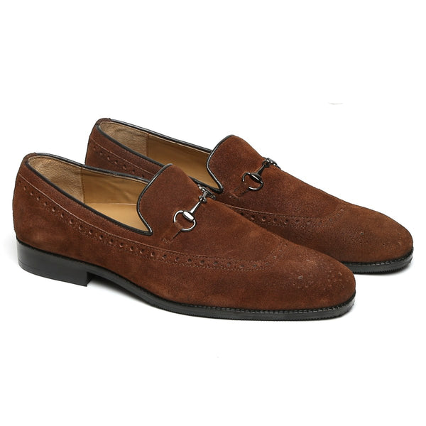 Brown Suede Leather Horsebit Penny Loafers By BRUNE