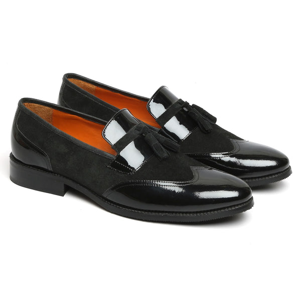 Black Suede And Patent Leather Tassel Slip-Ons By BRUNE