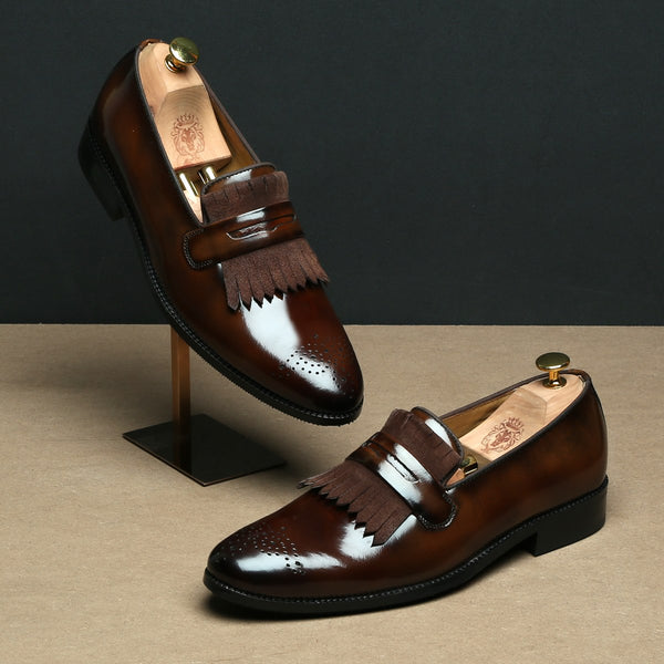 Brown Suede And Patent Leather Fringes Slip-Ons By BRUNE