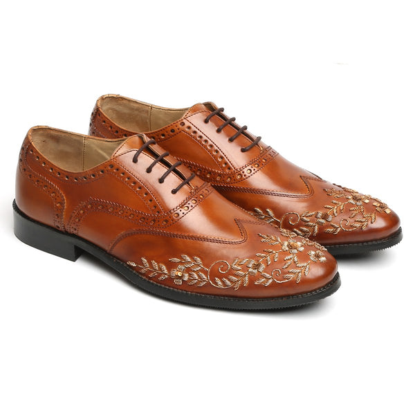 Zardosi Wingtip Tan Leather Formal Shoes by BRUNE