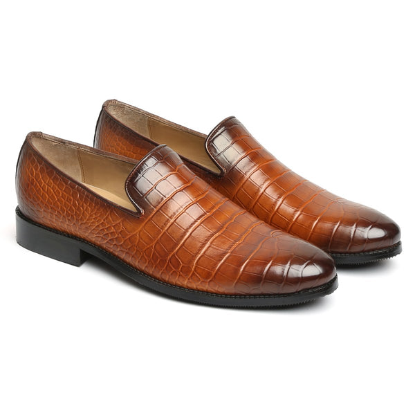 TAN CROCO PRINT LEATHER FORMAL SLIP-ONS BY BRUNE