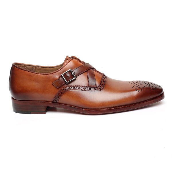 TAN CROSS-STRAP LEATHER FORMAL SHOES BY BRUNE
