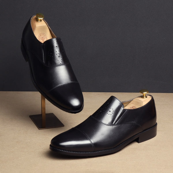 Black Squared Cap Toe Leather Slip-On by BRUNE