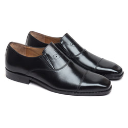 BLACK FLATTENED CAP TOE LEATHER SLIP-ONS BY BRUNE
