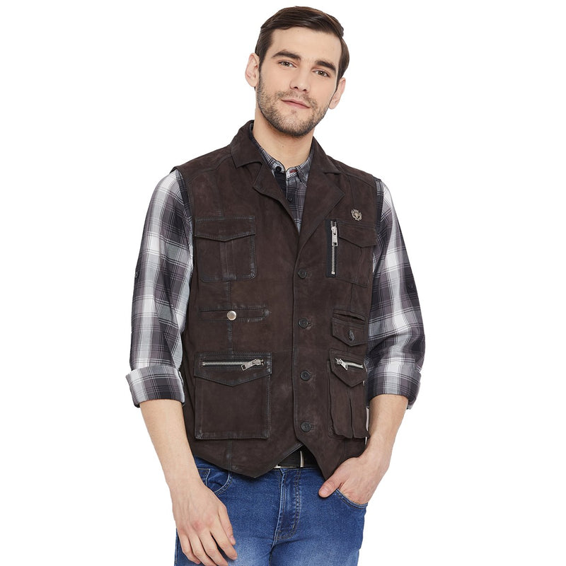 Espresso Suede Leather Stylish Multi-Pockets Vest By Bareskin