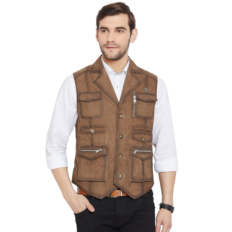 Taupe Suede Leather Stylish Multi-Pockets Vest By Bareskin