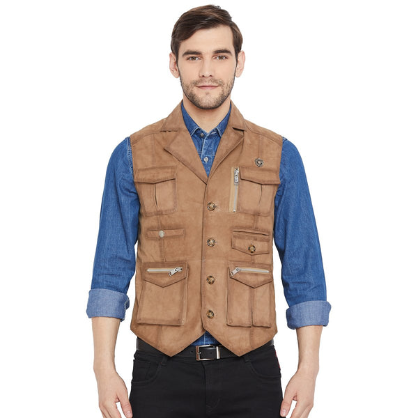 Beige Suede Leather Stylish Multi-Pockets Vest By Bareskin