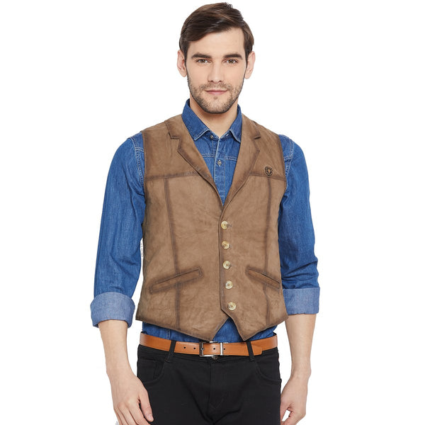 Taupe Leather Cowboy Look Vests By Bareskin