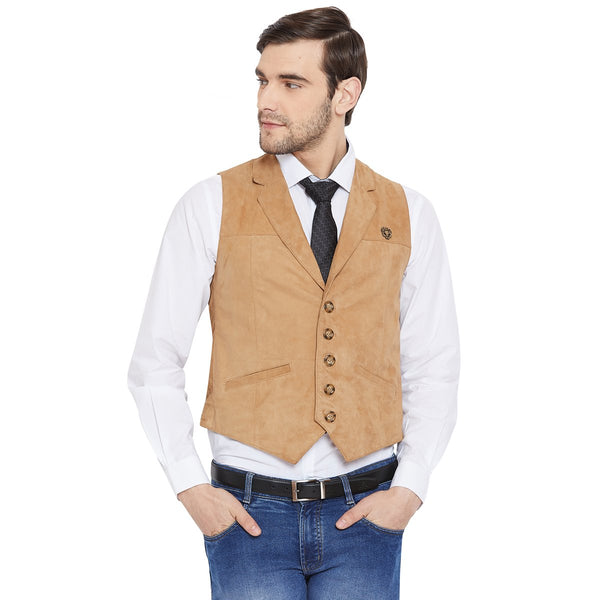 CAMEL ACCENT LEATHER COWBOY LOOK VESTS BY BARESKIN