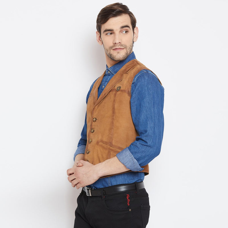 Tan Leather Cowboy Look Vests By Bareskin
