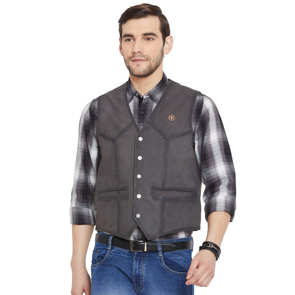 Graphite Collarless Leather Vests By Bareskin