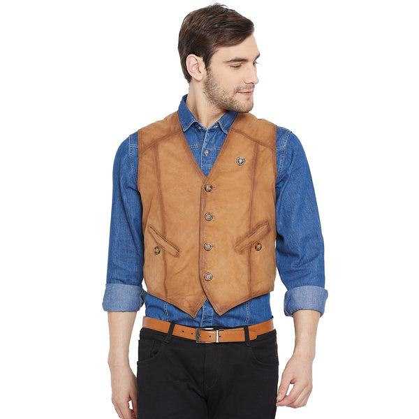 Tan Leather Straight Stitched Vests By Bareskin