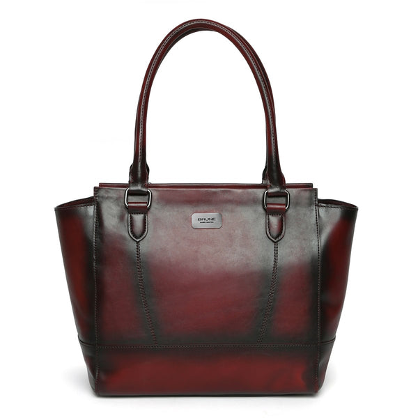 Brune Hand Painted Burnished Wine Leather Hand Bag For Women