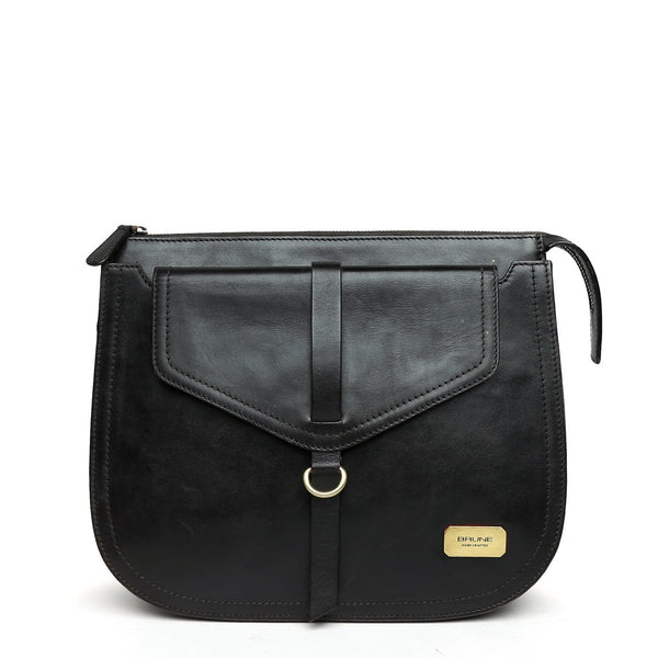 Modern Black Leather Sleek Look Ladies Bag By BRUNE
