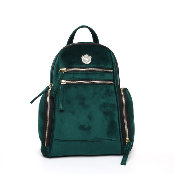 Green Velvet Signature Metal Lion Women Backpack By Brune
