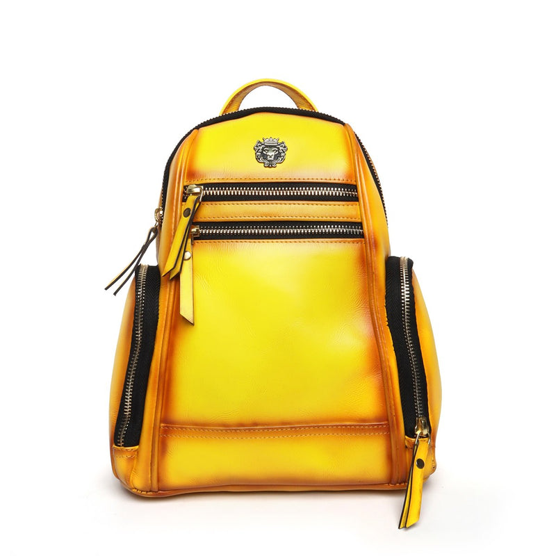Yellow Leather Signature Metal Lion Women Backpack By Brune