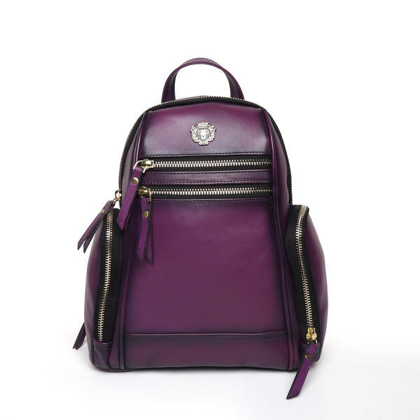Purple Leather Signature Metal Lion Women Backpack By Brune