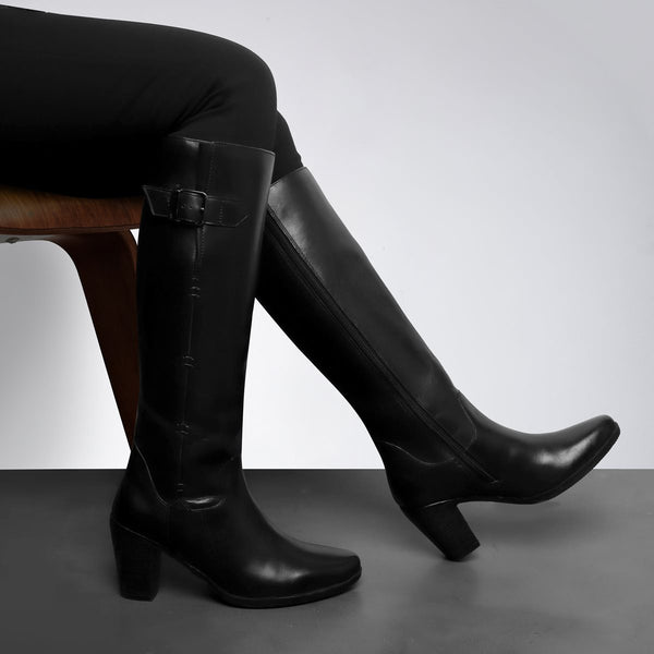 Black Knee Height Blocked Heel Ladies Leather Boots By BRUNE