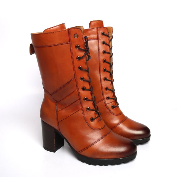 Tan Leather Long Lace Up Ladies Boots By BRUNE