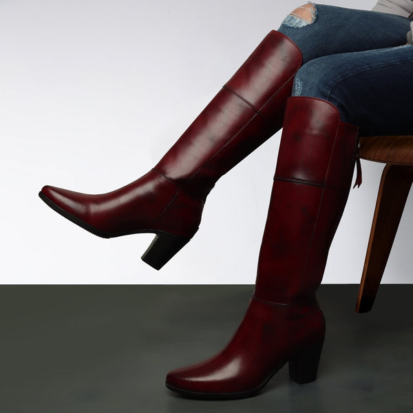 Wine Knee Height Back Zip Ladies Boots By BRUNE