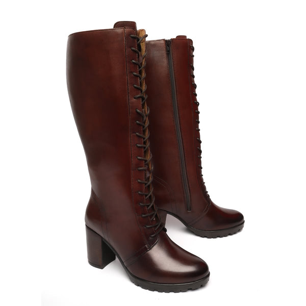 Dark Brown Leather Knee Height Full Lace Up Ladies Boots By BRUNE